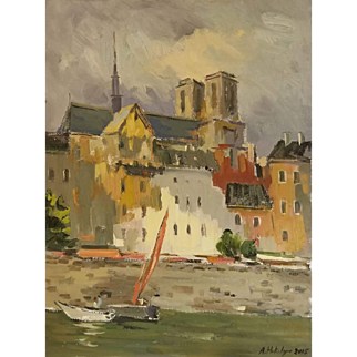 """Paris At the banks of Seine. Authentic Painting in Impressionist style, By Ara Hakobyan, 16"""" X 12"""""""