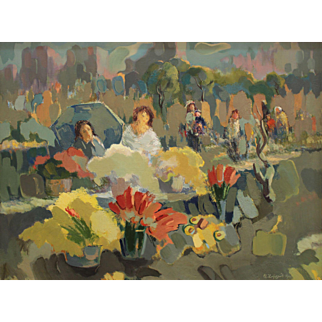 """Flower Sellers. Authentic Painting in Impressionist Art Style. By Ara Hakobyan, 23/6"""" X 32"""" Oil Painting on Canvas"""
