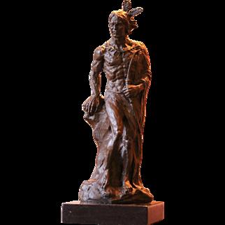 Original Native American Indian Bronze Sculpture
