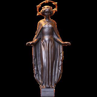 Art deco style - Bronze Sculpture - Sancta Barbara - by Heinrich Moshage - Germany 1950's