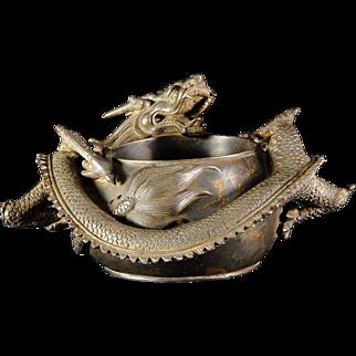 Chinese Qianlong 18th Century Bronze - Dragon Brush Washer Bowl