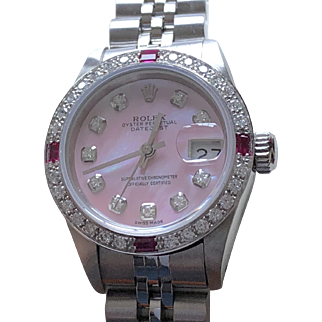Rolex Ladies 18K White Gold DateJust Watch w/ Diamonds and Ruby on a Pink Mother of Pearl bezel