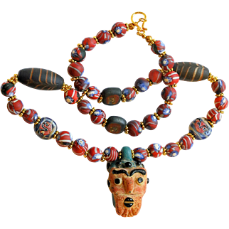 Near Eastern Mosaic Glass Bead Necklace with Ancient Face Pendant