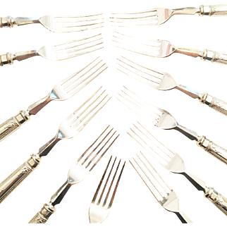 English Aesthetic Movement Silver-Plated Set of 12 Forks