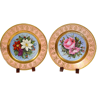 Pair of English Porcelain Plates Painted by Charlotte Elizabeth Cook, 1821