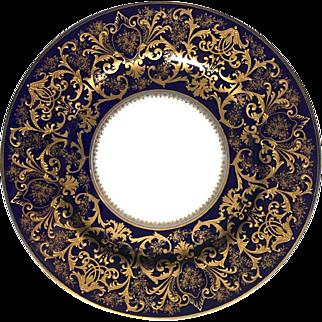 Bernardaud & Co Limoges France Set of Four Porcelain Blue Gold Dinner Plates