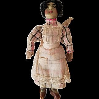 "5 1/2"" 1910-20s dollhouse sized Black Cloth doll, all original handstitched"