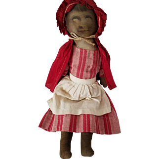 """13"""" antique Babyland rag Red Riding Hood doll, well-loved and worn"""