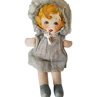 """12"""" Sweet lithograph face 1930s dolly, all original clothes."""