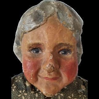 "27"" Papier mache & cloth handmade folk art doll. Wonderfully detailed fingers and toes, well modelled head."