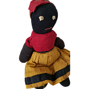 """11"""" Antique Black stocking doll, simple primitive stitched eyes & mouth, turkey red blouse, mustard yellow skirt"""