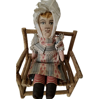 """9"""" tall antique all cloth, Dolly Varden type doll from the 1890s-1910s"""