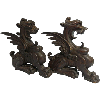 Two 19th C. European Carved Wood Winged Griffin Gargoyles Architectural Pieces