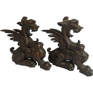 Pair 19th C. European Carved Wood Winged Griffin Gargoyles Architectural Pieces
