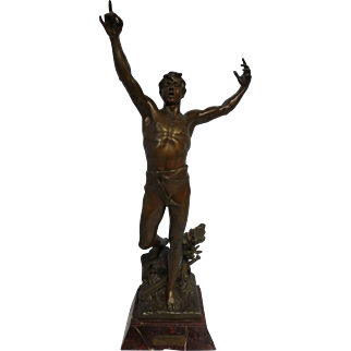 """31"""" French Original Sculpture by Georges Bareau, Vox Pacis, Voice of Peace, 1894"""