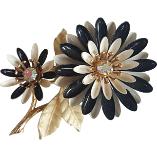 ART Double flower, enamel, AB Rhinestone Brooch Signed