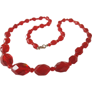 ART DECO Ruby Red Faceted Glass Necklace 22 inches