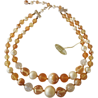 KARU ARKE Vintage Peach Blush Lucite Beads Choker Necklace
