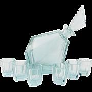 Vintage 1930s Art Deco ALEXANDRITE MOSER Signed Glass Drinking Set Decanter