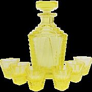 Vintage 1920s Art Deco MOSER Signed Glass Drinking Set Decanter Detailed Cut