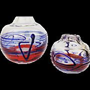 Vintage 1970s Set of 2 Jiri Suhajek Moser Large & Small Trailed Globe Vases