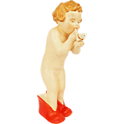 Vintage 1920s Porcelain Figurine Little Child Girl in Red Shoes