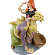 TOP Big Vintage 1920s ROYAL DUX Figurine Two Peasants Folk Women on Field Wheat