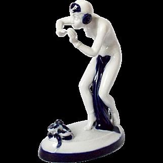 Vintage 1920s Art Deco Royal Dux Porcelain Figurine Snake Charmer Cobalt Blue