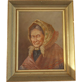 Oil Painting on Board 1944 Old Woman with Scarf by Anders Wallin Swedish Painted