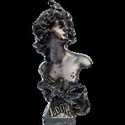 "Antique C 1890 Art Nouveau Cast Spelter Bust ""Judith"" by sculptor Franz Iffland"