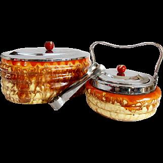 Vintage 1930s Art Deco Ceramic Biscuit Box & Sugar Basin Tea Coffee Set Chrome