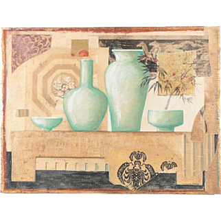 """Collage: Green Vases"" Mixed Media Fresco Painting $369"