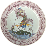18th Century Delft Ware Charger Depicting St.George