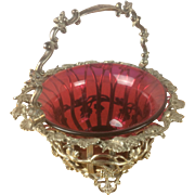 Wonderful Silver Plate & Cranberry Glass Bowl