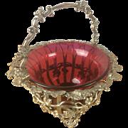 Wonderful Silver Plate & Cranberry Glass Bowl