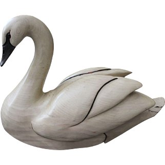 Tom Taber-Signed, Solid Wood Swan Decoy Hand Carved,