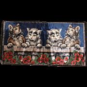 Four Kittens  Italian Textile Vintage