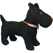Black Plush Terrier Pooch Vintage