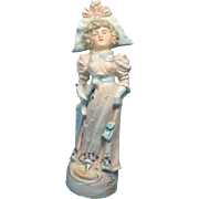 Bisque Figurine Vintage Lady with Parasol and Wonderful Hat