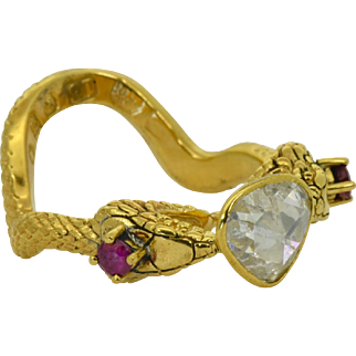 Antique English Victorian 18k solid gold,2ct Rose Cut DIAMOND and rubies snake ring