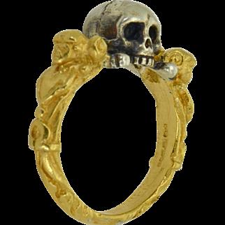 Victorian English antique Memento Mori Skull Bones vermeil 925 silver ladies ring.