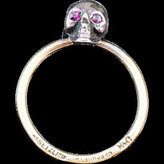 19th Century German 18k gold,silver and Rubies MEMENTO MORI SKULL ring.