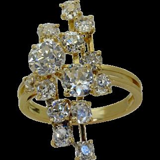 Art-Deco Mauboussin French 18k gold 4.85ct  Diamonds ring  c1930's.