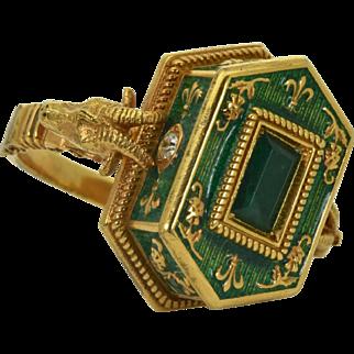 18th Century Georgian Engish Occultists Baphomet heads Memento Mori 18k gold ring