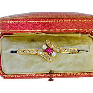 Imperial Russian 14k solid gold ,Diamonds and Ruby brooch