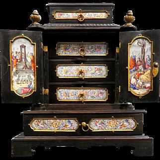 19th C. Viennese Enamel & Bronze Jewelry Box