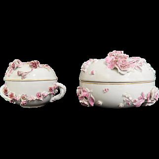 Set of two Meissen lidded cups