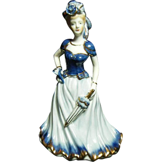Vintage Porcelain Victorian Style Blue & White Woman with Umbrella KPM Figurine 19th century