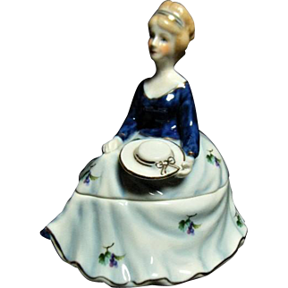 Vintage Limoges China Porcelain Hand Painted Cobalt Blue Dress Lady Trinket Box 19th Century
