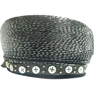Vintage Woman Black Pill Box Hat with Button Trim 1960 circa
